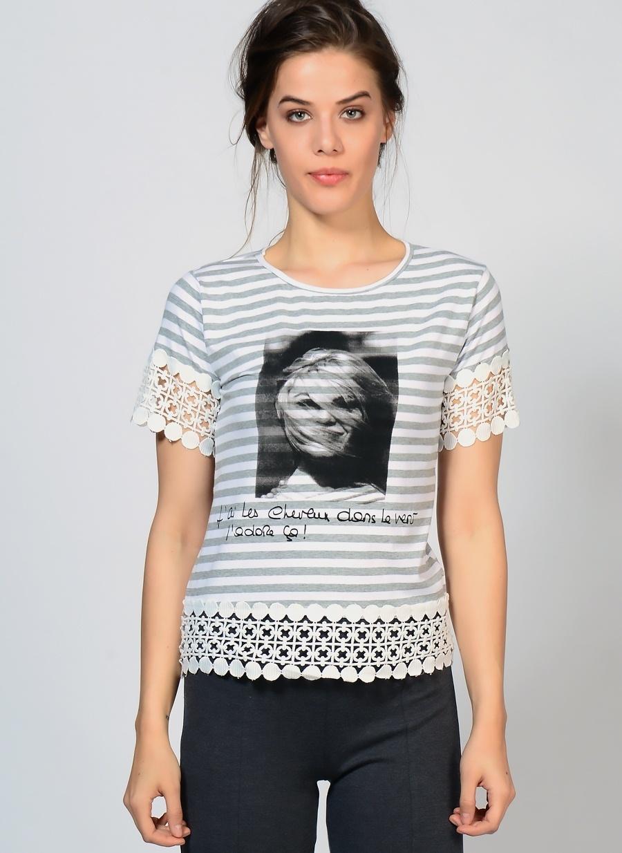Kadın Brigitte Bardot Bisiklet Yaka Baskılı Tişört